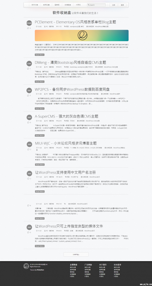 wordpress博客主题:单栏自动适应PCElement主题分享