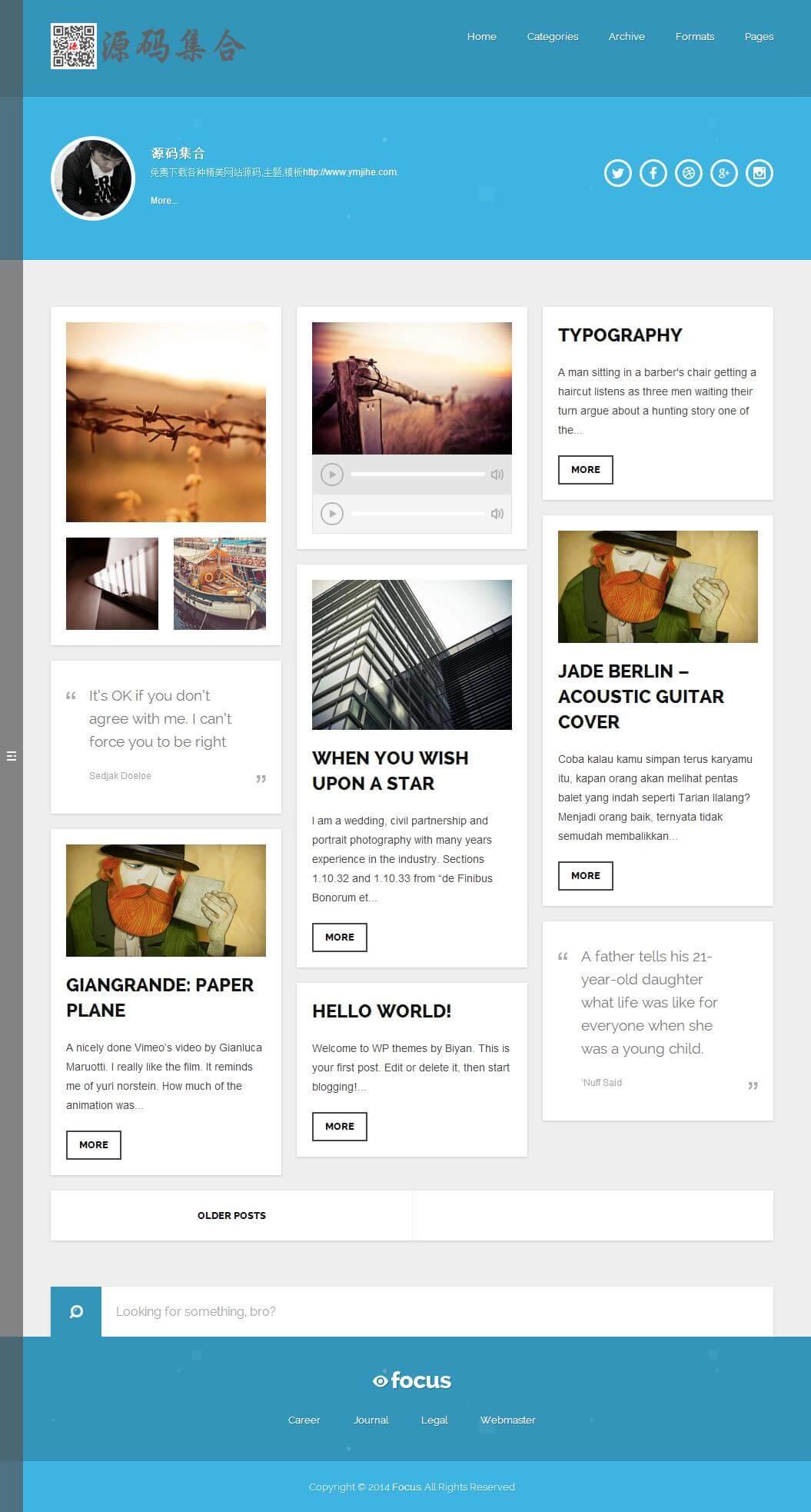 WordPress瀑布流Focus响应式博客主题分享